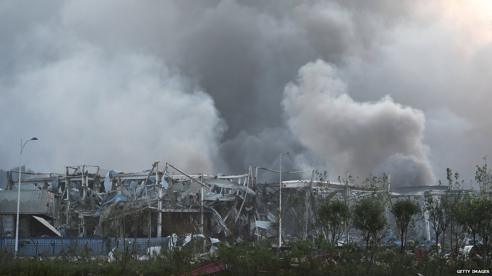 Site of explosion day after the blast, smoke (13 August 2015)