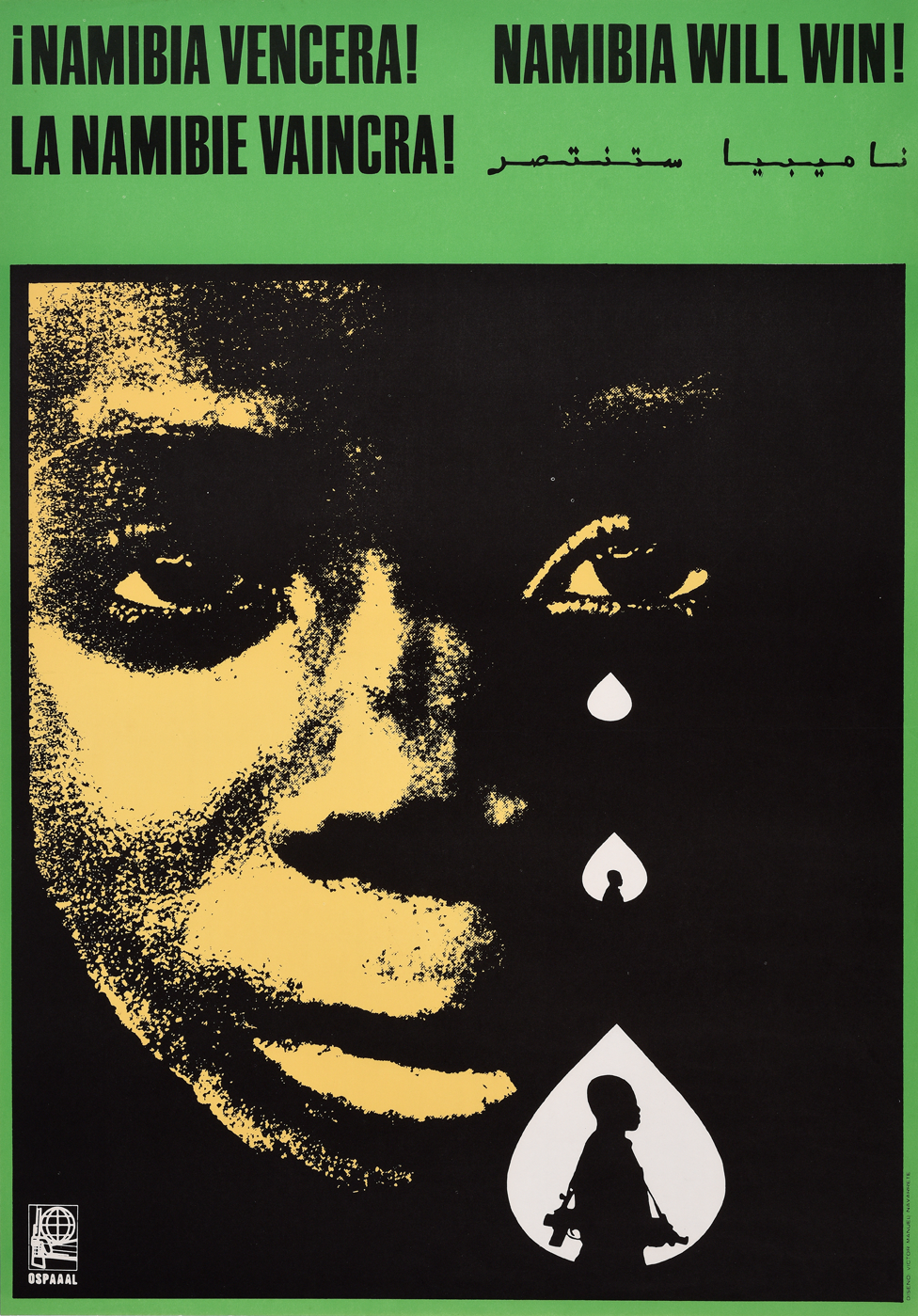 An Ospaaal poster entitled Namibia Will Win! 1977 showing the child crying and the image of a fighter in one tear