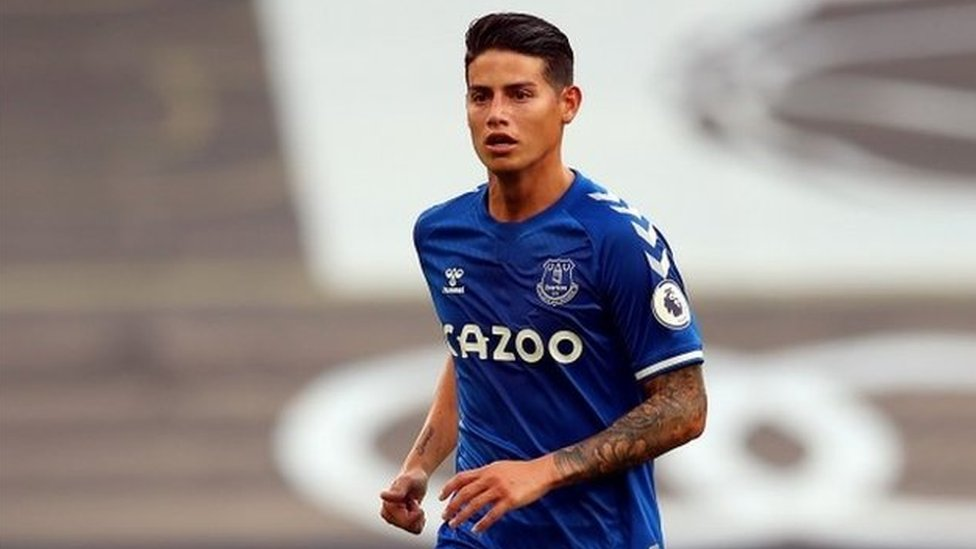 James Rodríguez con el Everton