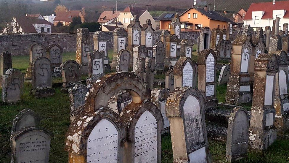 Desecrated gravestones in Westhoffen, eastern France