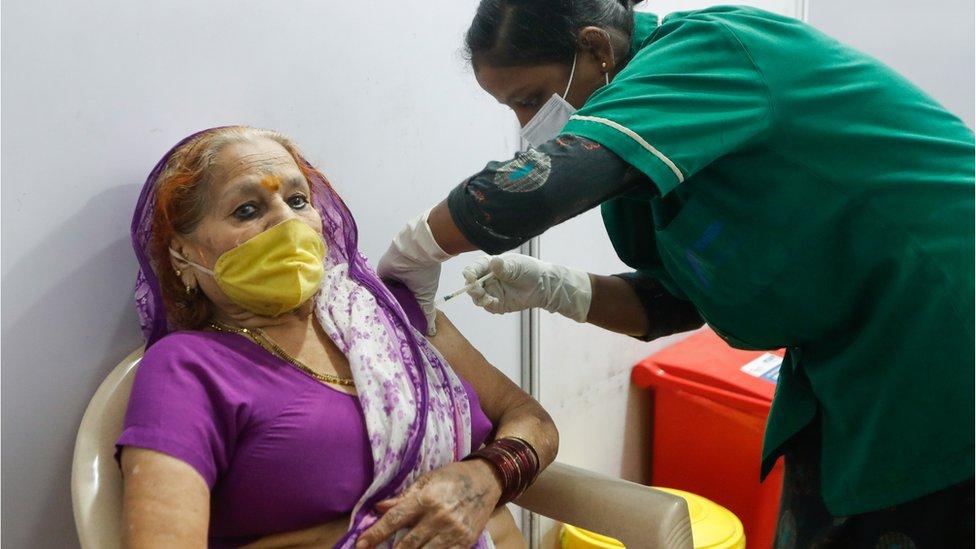 امرأة هندية تتلقى حقنة في الذراع