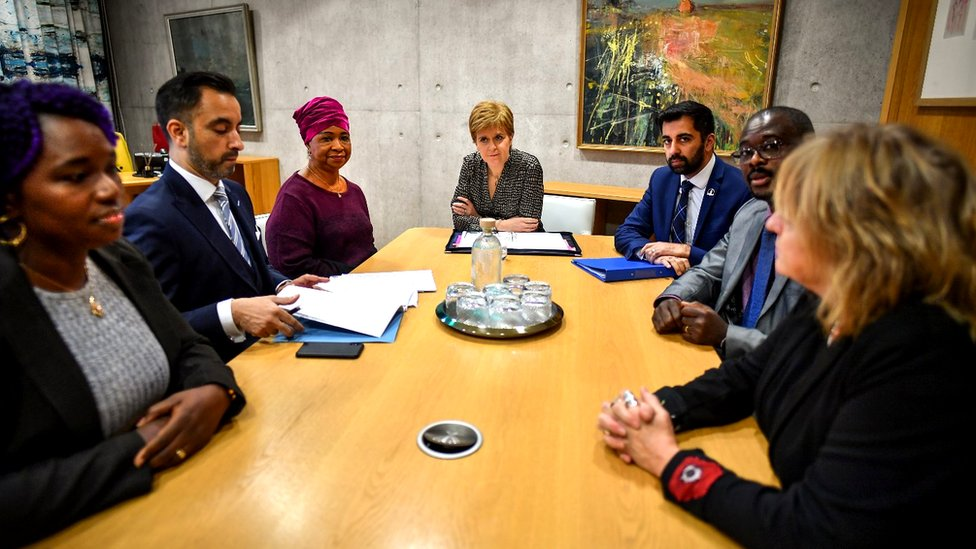 First Minister Nicola Sturgeon and Justice Secretary Humza Yousaf met with the family of Sheku Bayoh