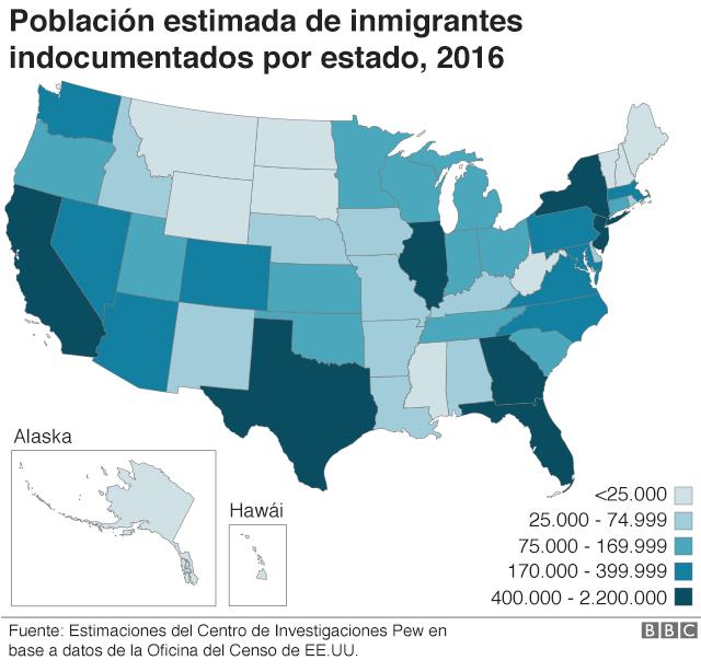 Mapa de EE.UU. que muestra la población de inmigrantes indocumentados por estado