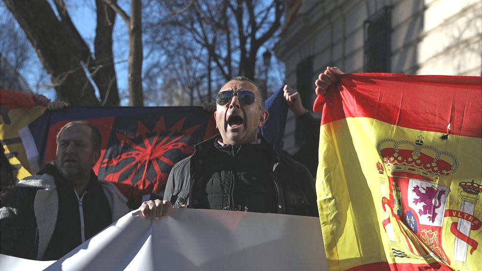 Protesters from both sides demonstrated outside the court