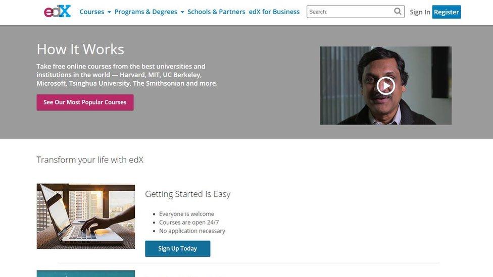 Página web de edX
