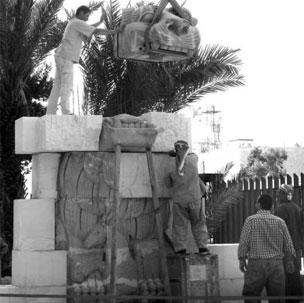 The reassembly of the lion in 2005