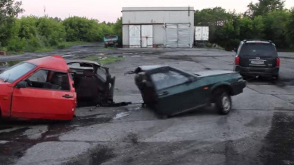 The fidget spinner hybrid car is pulled apart