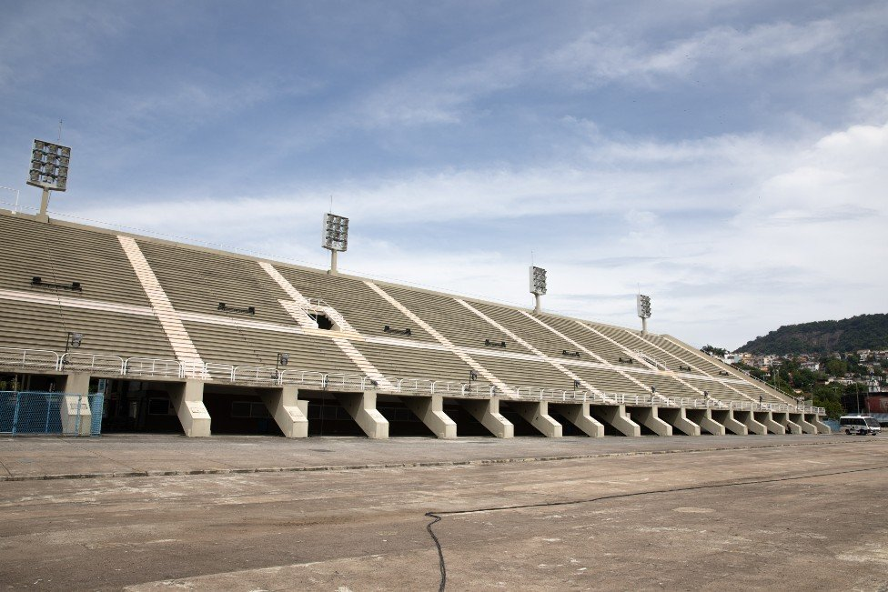 View of empty stands in the Sambadrome