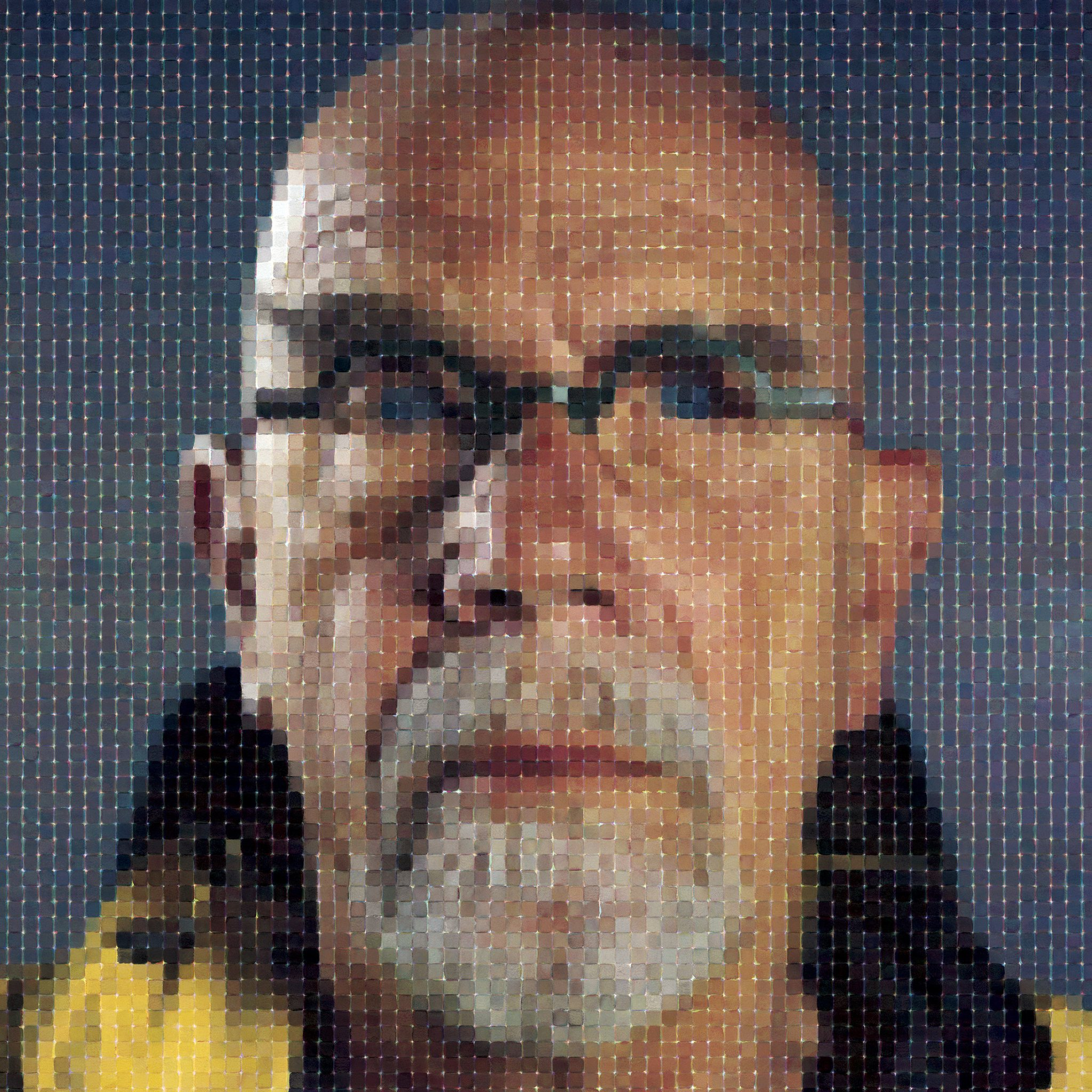 Self-portrait of Chuck made up of tiny squares