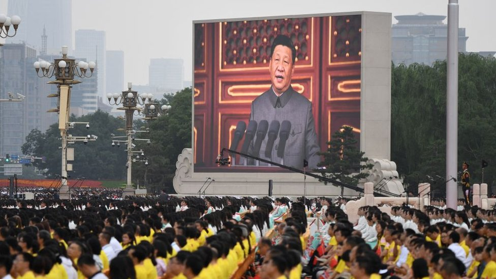 Chinese President Xi Jinping delivers a speech during the celebrations of the 100th anniversary of the founding of the Communist Party of China at Tiananmen Square in Beijing on July 1, 2021.