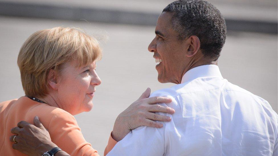 Obama and Merkel, Berlin, May 2013