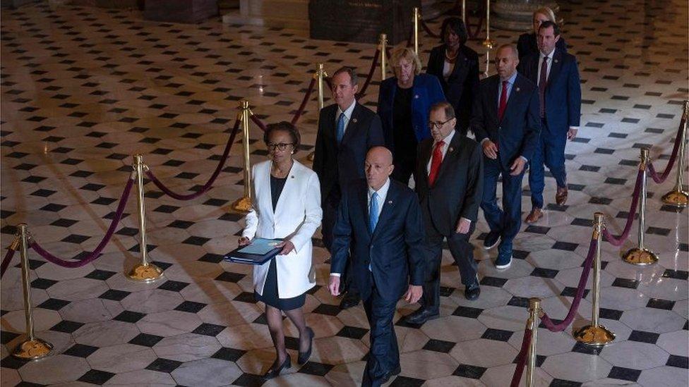 Los siete legisladores que actuarán como fiscales en el juicio político a Trump.