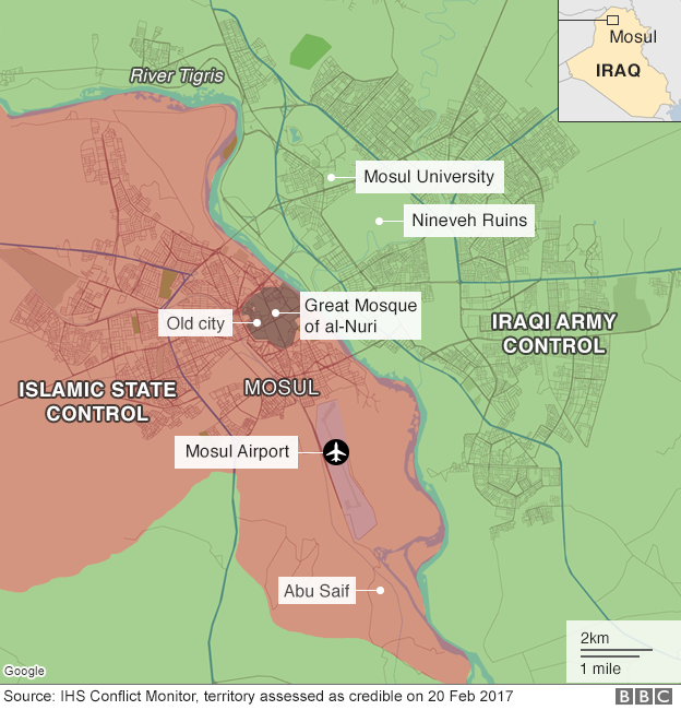 Map showing who controls the centre of Mosul in Iraq