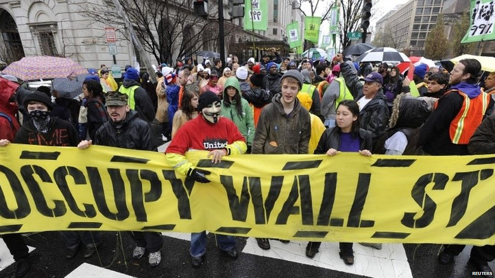 Protesters in Wall Street in 2011