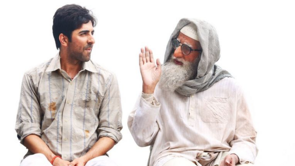 Bollywood actors Amitabh Bachchan (right) and Ayushmann Khurrana