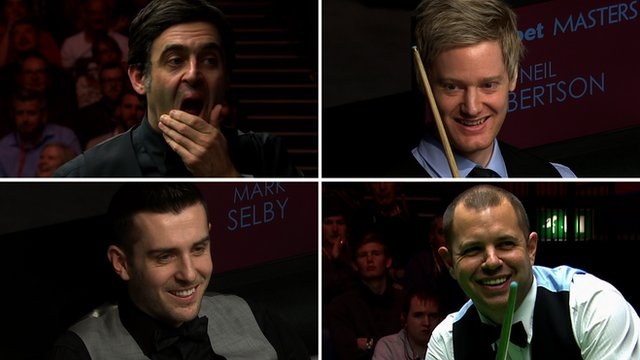 Ronnie O'Sullivan, Neil Robertson, Mark Selby and Barry Hawkins at the 2016 Masters