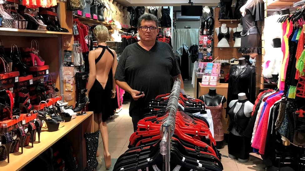 Philippe Barreau at his sexy clothes store