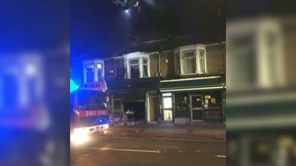 Burnt out shops