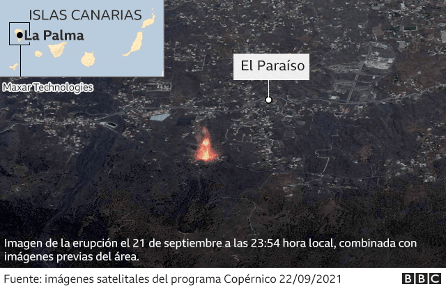 Mapa del volcán en islas Canarias.
