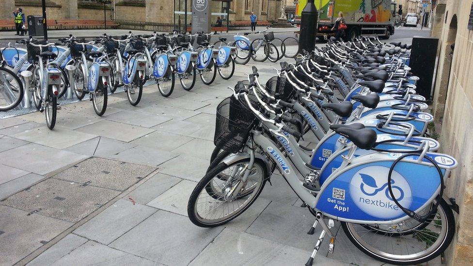 The bikes ready for hire in Orange Grove, Bath
