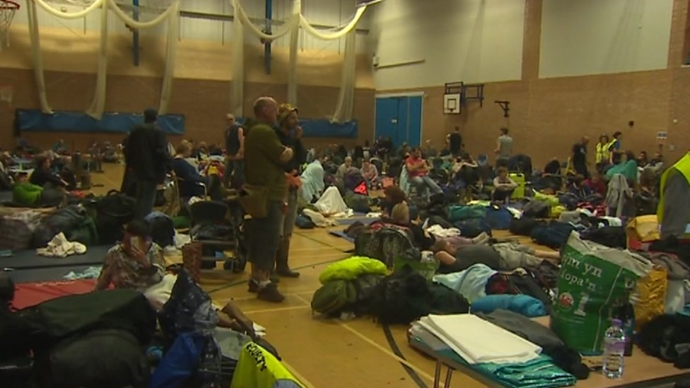 People took refuge in Porthmadog's Glaslyn leisure centre on Sunday night