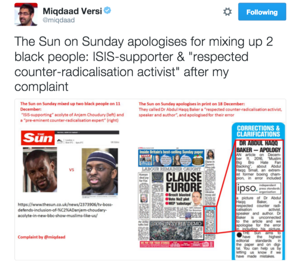 """Tweet from Miqdaad Versi reading: 'The Sun on Sunday apologises for mixing up 2 black people: ISIS-supporter & """"respected counter-radicalisation activist"""" after my complaint'"""