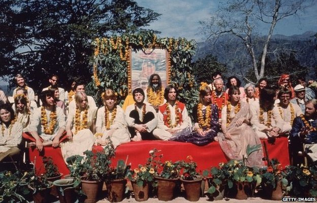 The Beatles and their wives at the Rishikesh in India with the Maharishi Mahesh Yogi, March 1968.