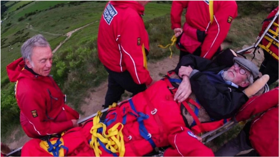 Rescue team helps man climb Roseberry Topping