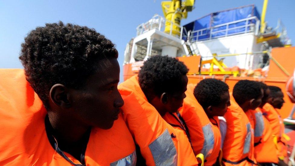Migrantes rescatados por Aquarius en agosto