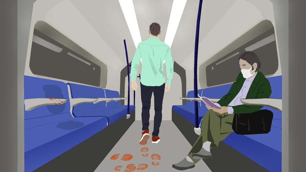 Illustration: man on train