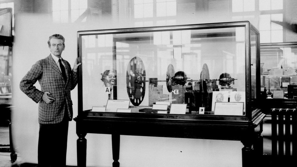 John Logie Baird at the Science Museum in London, circa August 1926, with his televisor