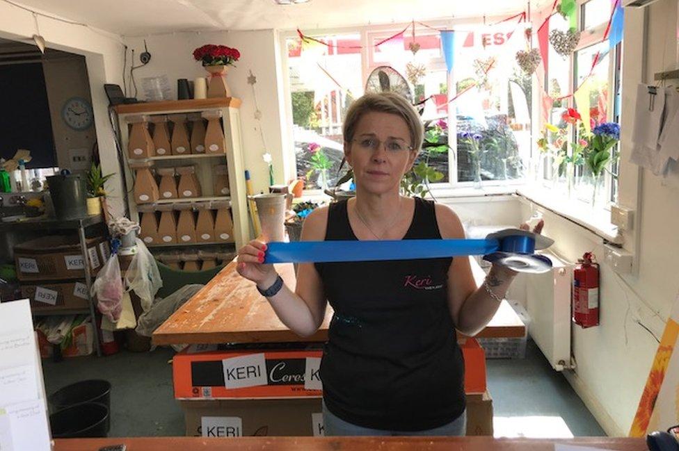 Keri Walker with blue ribbon