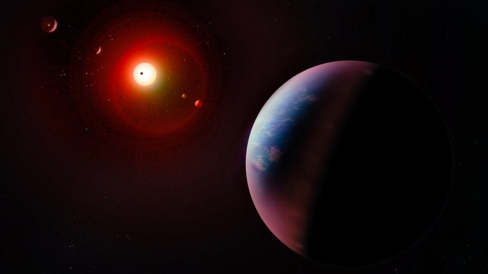 Illustration of exoplanets and stars