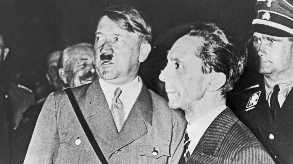 Hitler and his propaganda chief Joseph Goebbels during the Nazi election campaign in 1933