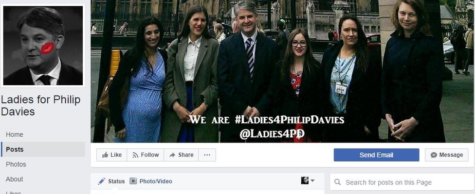 "Screenshot from ""Ladies for Philip Davies"" which has spent around £40 on Facebook adverts, but the group says its campaign did not specifically target the General Election"