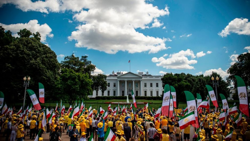 Una manifestación frente a la Casa Blanca de partidarios de un cambio de régimen en Irán.