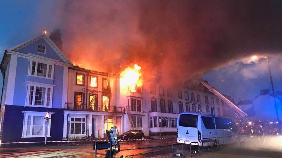 Hotel on fire in Aberystwyth