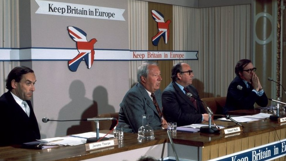 Jeremy Thorpe, Ted Heath, Roy Jenkins and Labour peer Lord Harris