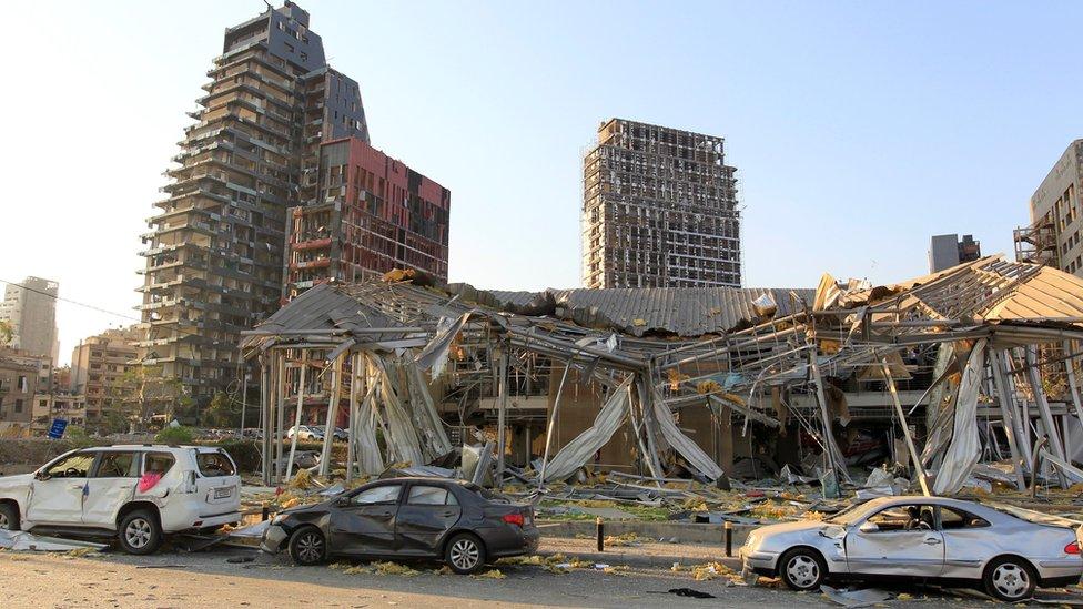 Edificios destruidos en el centro de Beirut, el 5 de agosto.