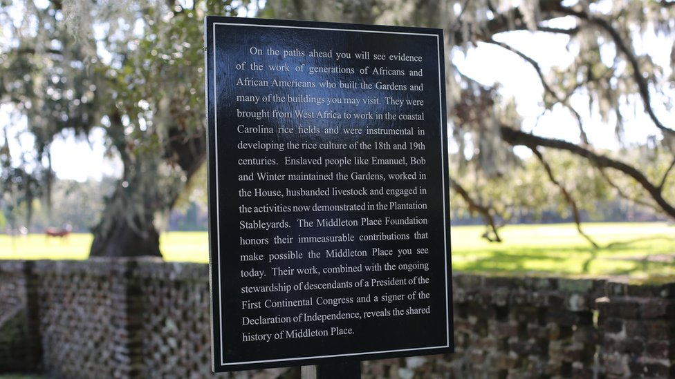 "Sign mentioning ""enslaved labour"" at the entrance of Middleton"