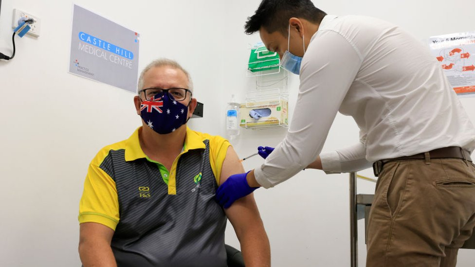澳大利亞總理莫里森接種新冠疫苗