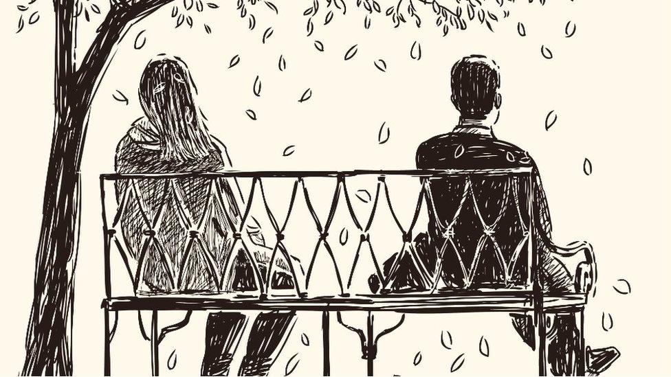 Dibujo de un hombre y una mujer sentados en un banco