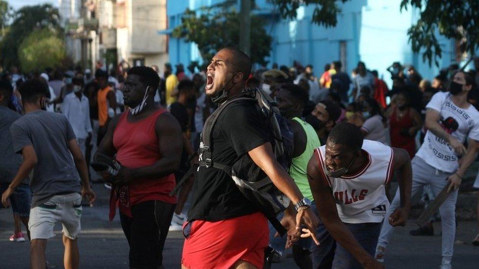 Protesta en La Habana contra el gobierno de Cuba