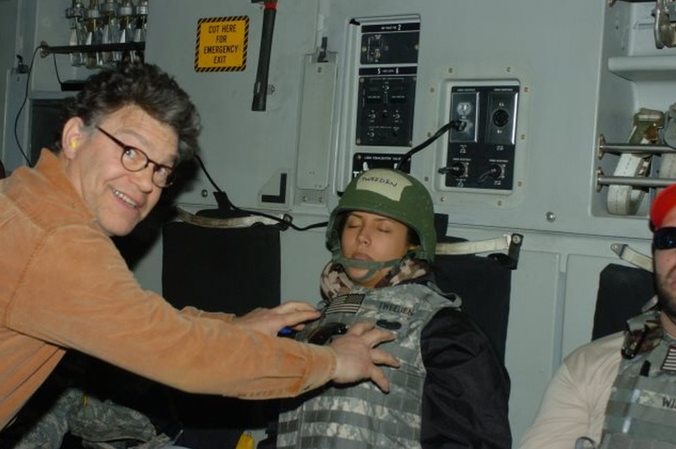 Franken gropes the accuser while smiling