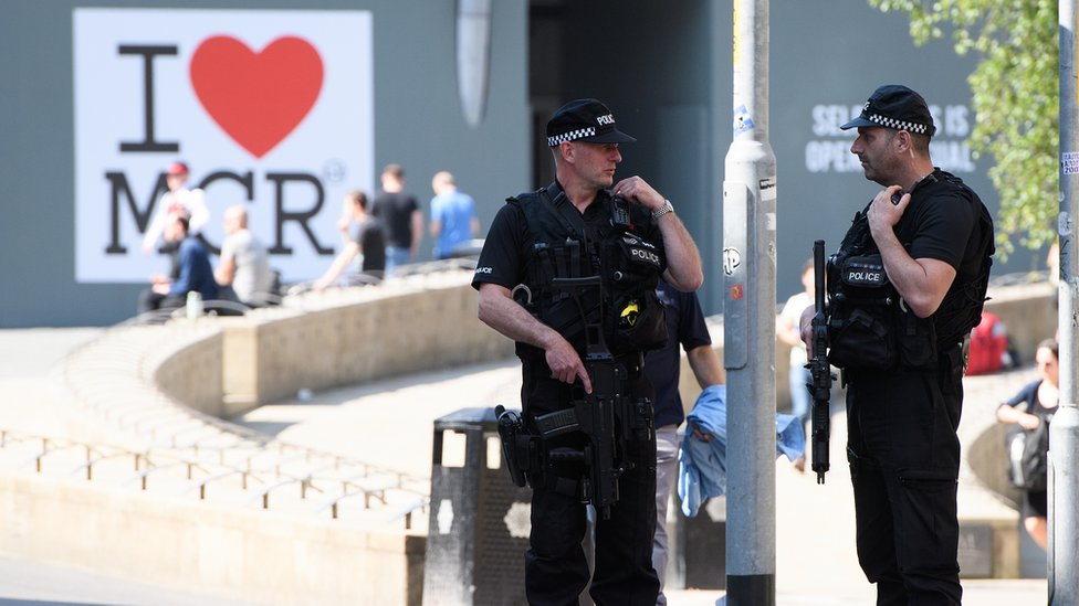 Armed police in Manchester following the attack