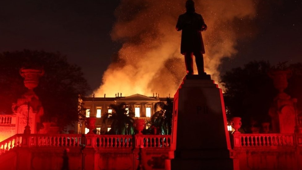 Firefighters try to extinguish a fire at the National Museum of Brazil in Rio de Janeiro, Brazil on 2 September 2018