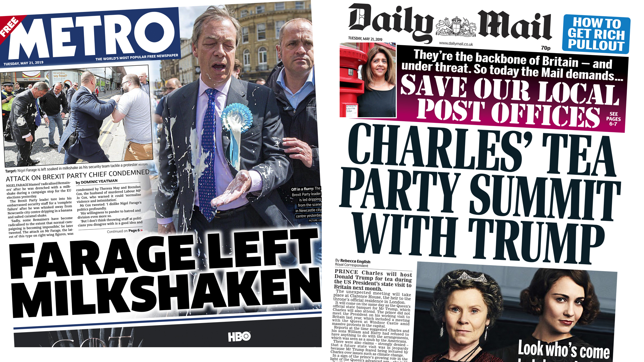 The Papers: Farage 'shake-down' and Trump tea with Charles
