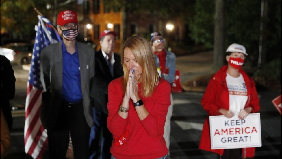 Trump supporters praying in Atlanta Georgia