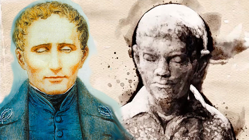 Louis Braille niño y adulto.