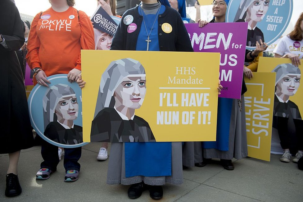 Nuns and other religious figures protested against the Obamacare mandate
